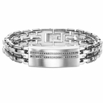 Triton Stainless Steel and Black Diamonds ID Bracelet