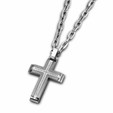 Triton Stainless Steel and Diamonds Cross Pendant