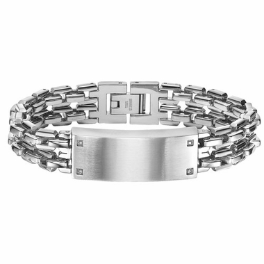 Triton Stainless Steel and Diamonds ID Bracelet