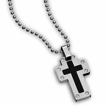 Triton Stainless Steel and Enamel Screw Cross Pendant