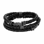 Triton Stainless Steel and Leather Triple Wrap Bracelet