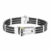 Triton Stainless Steel and Rubber Bracelet