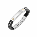 Triton Stainless Steel and Rubber Bracelet with 14K Yellow Gold Screws