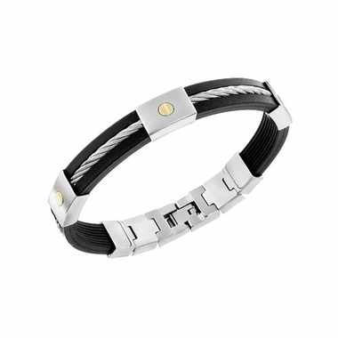 Triton Stainless Steel and Rubber Bracelet with Cable Inlay
