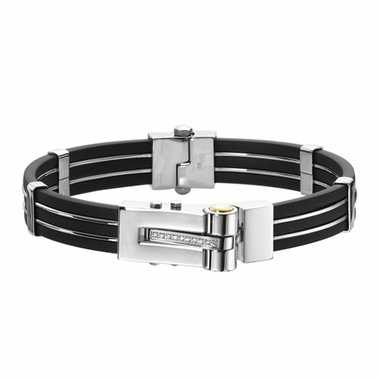 Triton Stainless Steel and Rubber Bracelet with Diamonds