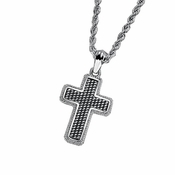 Triton Stainless Steel and Silver Cross Pendant
