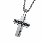 Triton Stainless Steel and Silver Cross Pendant with Black Diamonds