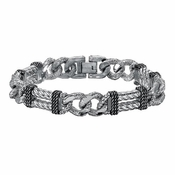 Triton Stainless Steel and Silver ID Chain Bracelet