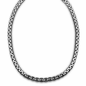Triton Stainless Steel Box Chain Necklace with 14K Gold Accent