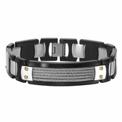 Triton Stainless Steel Bracelet with Cable and 14K Gold Rivets