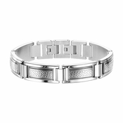 Triton Stainless Steel Bracelet with Faux Nugget Etch