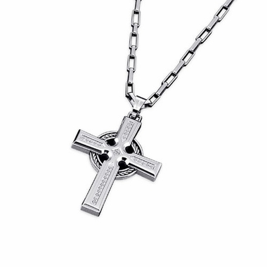 Triton Stainless Steel Cross Pendant with 0.17 ctw Diamonds