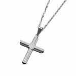 Triton Stainless Steel Cross Pendant with Diamond Accents