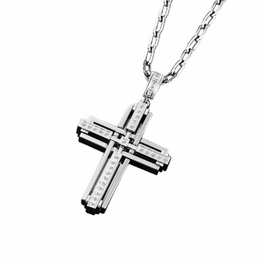Triton Stainless Steel Cross Pendant with Diamonds