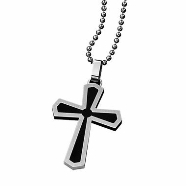 Triton Stainless Steel Cross Pendant with Enamel Accent