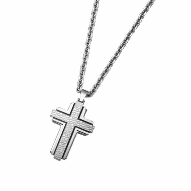 Triton Stainless Steel Cross Pendant with Faux Nugget Acid Etch