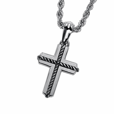 Triton Stainless Steel Cross Pendant with Silver Rope Inlay