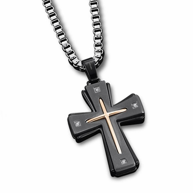 Triton Stainless Steel Cross Pendant with Titanium and Diamond Accent