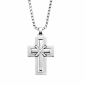 Triton Stainless Steel Cross Pendant with Titanium and Sterling Silver Inlay