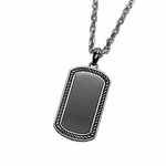 Triton Stainless Steel Dog Tag with Black IP and Sterling Silver Inlay