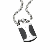 Triton Stainless Steel Dog Tag with Black Leather