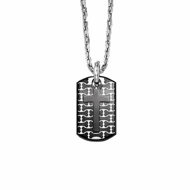 Triton Stainless Steel Dog Tag with Bone Pattern