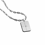 Triton Stainless Steel Dog Tag with Diamond