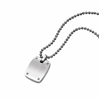 Triton Stainless Steel Dog Tag with Diamonds