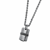 Triton Stainless Steel Dog Tag with Silver Inlay and Black Diamonds