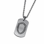 Triton Stainless Steel Dog Tag with Sterling Silver Rope Shield Inlay