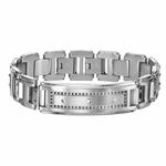 Triton Stainless Steel ID Bracelet with Black Diamonds
