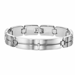 Triton Stainless Steel ID Bracelet with Diamond