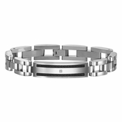 Triton Stainless Steel ID Bracelet with Diamond and Black Cable