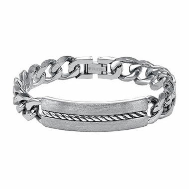 Triton Stainless Steel ID Link Bracelet with Sterling Silver Rope Inlay