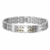 Triton Stainless Steel Link Bracelet with 14K Gold