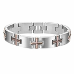 Triton Stainless Steel Link Bracelet with Coffee Brown Crosses