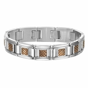 Triton Stainless Steel Link Bracelet with Coffee Brown Textured Center