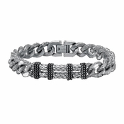 Triton Stainless Steel Link Bracelet with Sterling Silver Rope Inlay