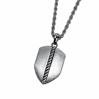 Triton Stainless Steel Shield Dog Tag with Silver Rope Inlay