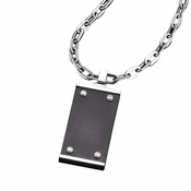 Triton Stainless Steel Slate Dog Tag with Titanium Accents