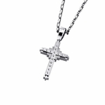 Triton Stainless Steel Studded Cross Pendant with Diamonds
