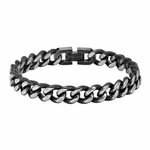 Triton Stainless Steel Textured Chain Bracelet with Black Antique Finish