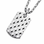 Triton Stainless Steel Textured Dog Tag with Diamonds