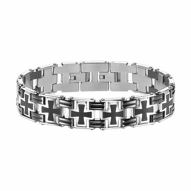 Triton Stainless Steel Two Tone Cross Link Bracelet