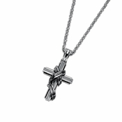 Triton Stainless Steel Wrapped Cross Pendant