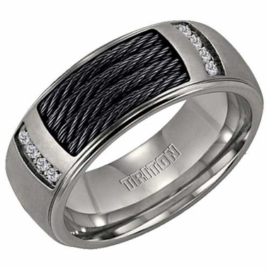 Triton Titanium Band with Black Cables Inlay and Diamonds