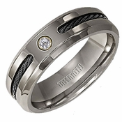 Triton Titanium Diamond Ring with Black Cable Inlay and 18K Gold Accent