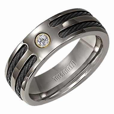Triton Titanium Diamond Ring with Dual Cable Inlay and 18K Gold Accent
