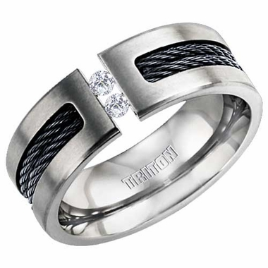 Triton Titanium Diamonds Tension Set Ring with Black Cables Inlay