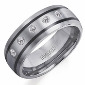 Triton Tungsten Carbide and Diamonds Ring with Black Epoxy